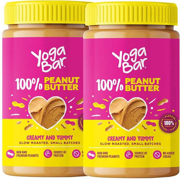 Yogabar 100% Peanut Butter | All Natural Unsweetened Peanut Butter, 2 x 400g | Yummy & Creamy Peanut Butter made from Slow Roasted Peanuts in Small Batches | Non-GMO, Vegan, Keto & High Protein Peanut Butter 800