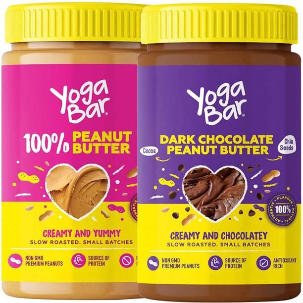 Yogabar Peanut Butter | Super Saver Combo, 2 x 400g | 100% Natural Peanut Butter & Dark Chocolate Peanut Butter | Slow Roasted, Non-GMO Choco Spread, Suitable for Vegan & Keto Diet 800