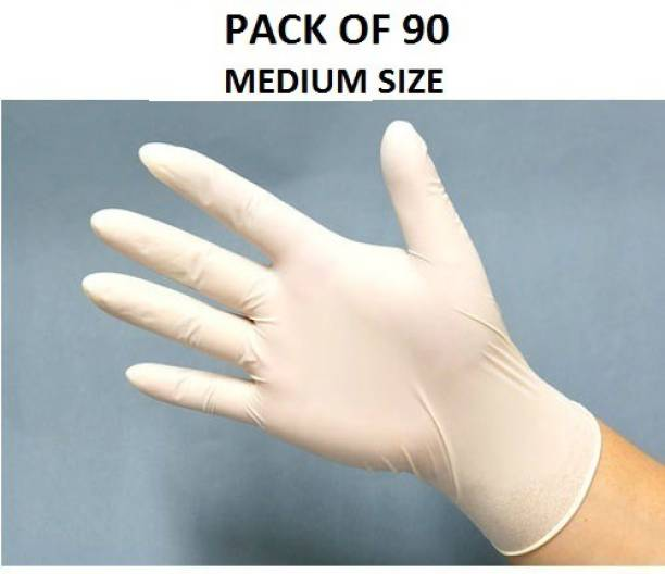 DM SPECIALLY FOR SPECIALIST White Latex Examination/Surgical Gloves/ DISPOSABLE (90 Pcs / 1 box) Latex Examination Gloves