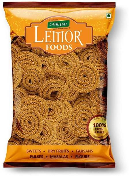 Lemor Bhajni Chakli (500 g, 2 Packs of 250g)   Namkeen Snacks for Foodie Indians