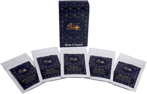 The Indian Chai The Health Box, Assorted Tea Sampler (5 Teas, 50 Cups) Anti-Diabetic Tea, Joint Support Tea, Immunity Booster Tea, Arjun Tea For Good Heart and Memory Zest Tea Herbs Herbal Tea Vacuum Pack