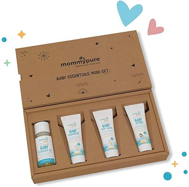 MommyPure Perfect Travel Cum On-The-go Pack, 4 Clean & Natural Baby Care Essentials