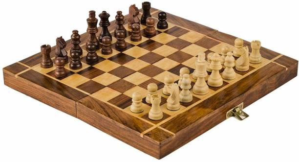 Smartcraft Chess Board Set, Wooden Chess Board with 32 Pawns, Big Size Chess Board- Brown -12 Inch Educational Board Games Board Game