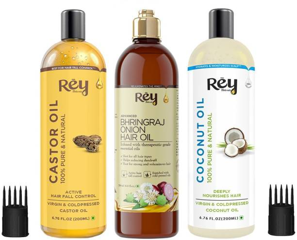 Rey Naturals Hair oils combo (Castor oil + Coconut oil + Bhringraj oil) controls hairfall - For healthy hair - No Mineral Oil, Silicones & Synthetic Fragrance Hair Oil