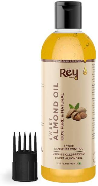 Rey Naturals 100% Pure & Natural Sweet Almond oil - Virgin & Cold pressed - for hair & skin - 100 ml Hair Oil