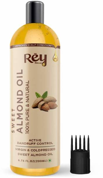 Rey Naturals 100% Pure & Natural Sweet Almond oil - Virgin & Cold pressed - for hair & skin - 200 ml Hair Oil