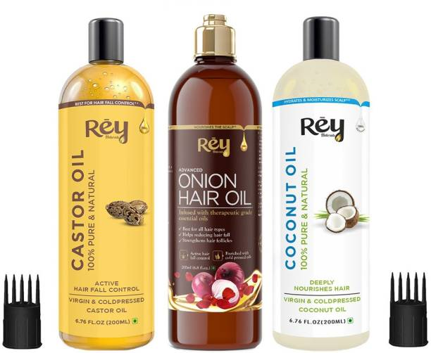 Rey Naturals Hair oils combo (Castor oil + Coconut oil + Onion oil) controls hairfall - For healthy hair - No Mineral Oil, Silicones & Synthetic Fragrance Hair Oil