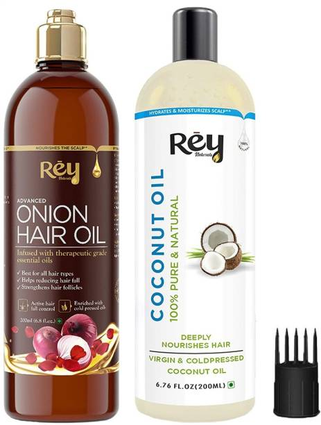 Rey Naturals Hair oils combo (Coconut oil + Onion oil) controls hairfall - For healthy hair - No Mineral Oil, Silicones & Synthetic Fragrance Hair Oil