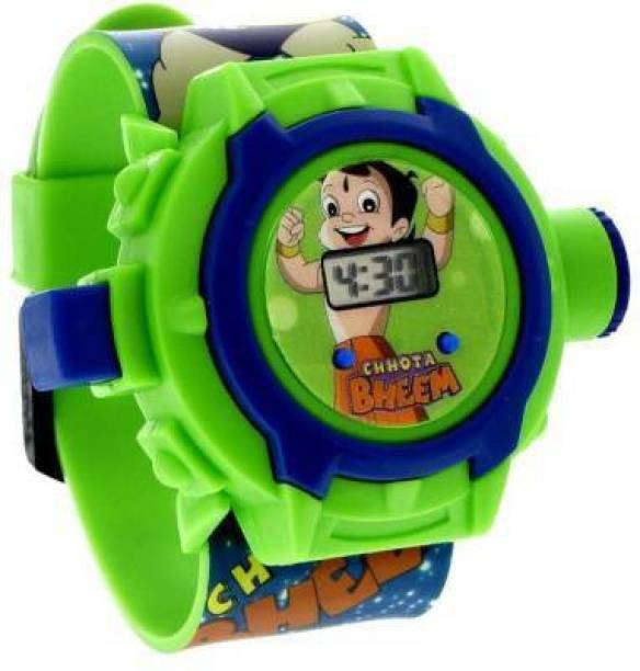 VARNA Chhota Bheem Automatic Digital Light 24 Images Chota Bheem Projector Wrist Led Watch for Kids Boys & Girls Diwali Gift Birthday Returned Gifts Entertainment toy & game Sports Digital Watch