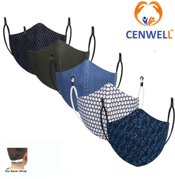 CENWELL Unisex 100% Cotton Mask with Nose pin Printed Fashionable Protective Fabric N95 Anti-Pollution Mask for Men ,Women ,Girls , Ladies ,kids with Adjustable Ear loop & Ear Saver Strap , Free Handrub Mask Reusable, Washable, Water Resistant Cloth Mask With Melt Blown Fabric Layer