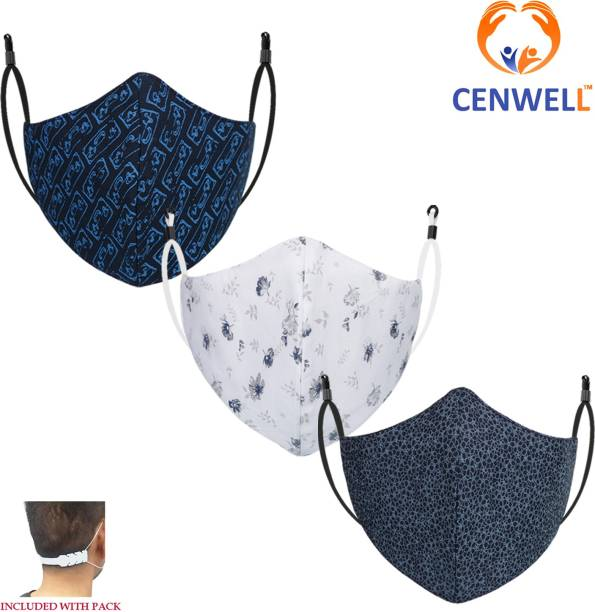 CENWELL Unisex 100% Cotton Face Mask with Nose Pin Fashionable Protective Printed Fabric N95 Anti pollution Designer Mask for Men , Women ,Kids , teens , Girls with Ear Saver Strap DESIGNER FACE MASK 4 Reusable, Washable Cloth Mask With Melt Blown Fabric Layer