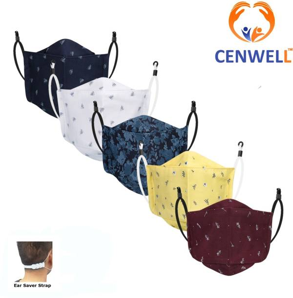 CENWELL Unisex 100% Cotton Printed Fabric Protective Fashionable Anti Pollution Fabric Cotton Face Mask for Men , Women ,Kids with Adjustable Ear Loop & Adjustable strap , Designer 3d MaskS Reusable, Washable, Water Resistant Cloth Mask With Melt Blown Fabric Layer