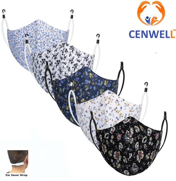 CENWELL Unisex 100% Cotton Mask with Nose Clip European Fabric Printed Fashionable Protective Fabric N95 Anti-pollution Cotton Face Mask for Men ,Women ,girls , teens , ladies with Ear saver Strap & Adjustable ear loops (Reusable Mask , Washable Mask , Pollution Mask) Designer Printed Masks Reusable, Reusable Cloth Mask With Melt Blown Fabric Layer