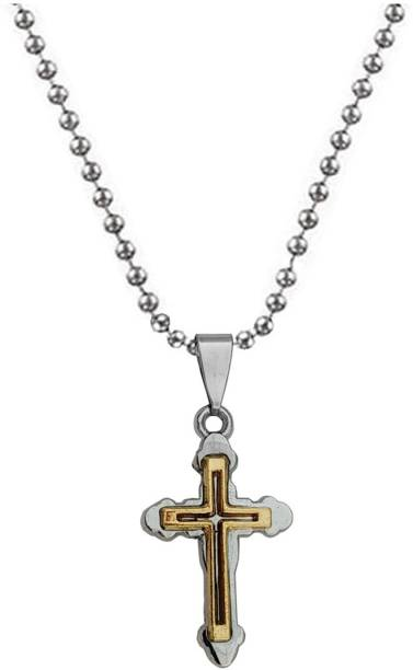 Sullery Religious jewelry Jesus Christ Crucifix Christian Prayer Cross With Ring Gold-plated Stainless Steel Pendant Set