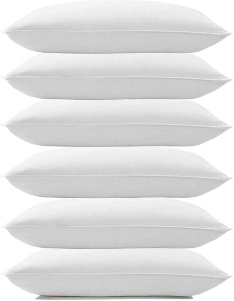 GAUZY Cotton Solid Sleeping Pillow Microfibre Solid Sleeping Pillow Pack of 6