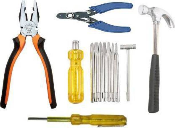 Tulsway Hand Tool Kit 8 in 1 screwdriver set 1 pliers 1 wire cutter 1 hammer 1 tester Hand Tool Kit