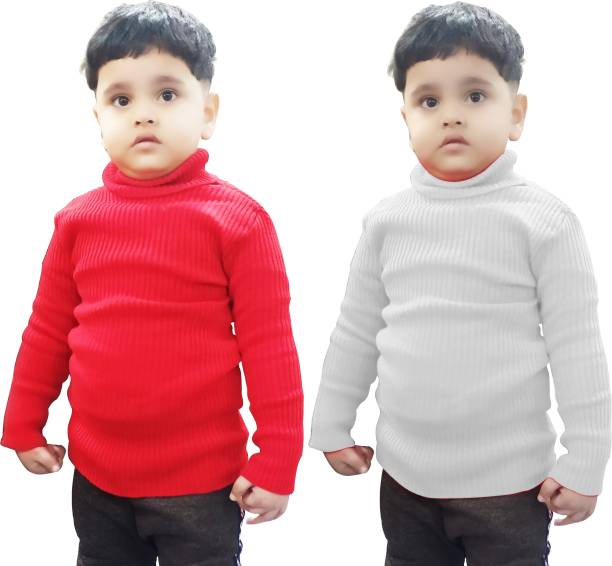 ATXP Solid High Neck Casual Baby Boys & Baby Girls Red, White Sweater