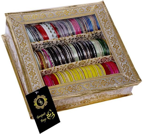 Ganpati Bags Golden 3 Rods Bangle Box Bangle Box 3 Rods Vanity Box
