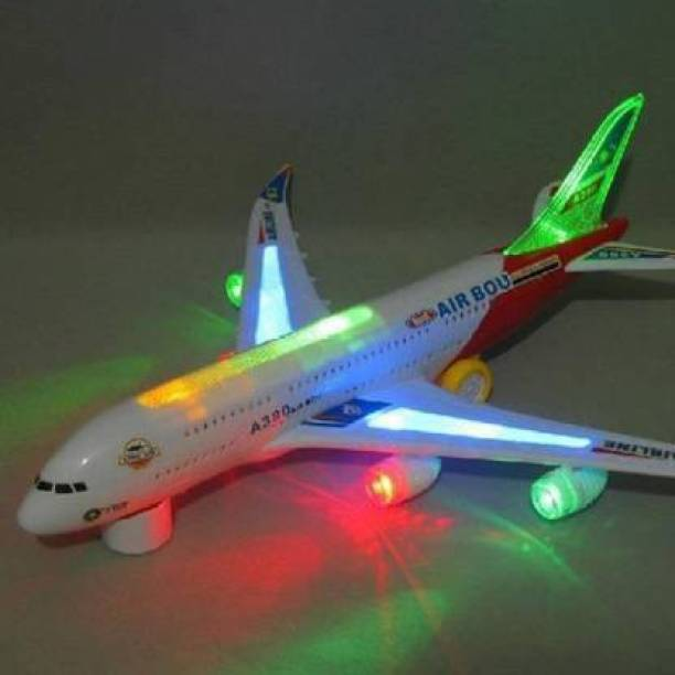 BVM GROUP Airbus A380 Airplane Model Toys With Loud Musical Flashing Light Automatic Airplane Electric Plane, Bump N Go Feature Aeroplane For Children (Multicolor) TOYS SET FOR KIDS