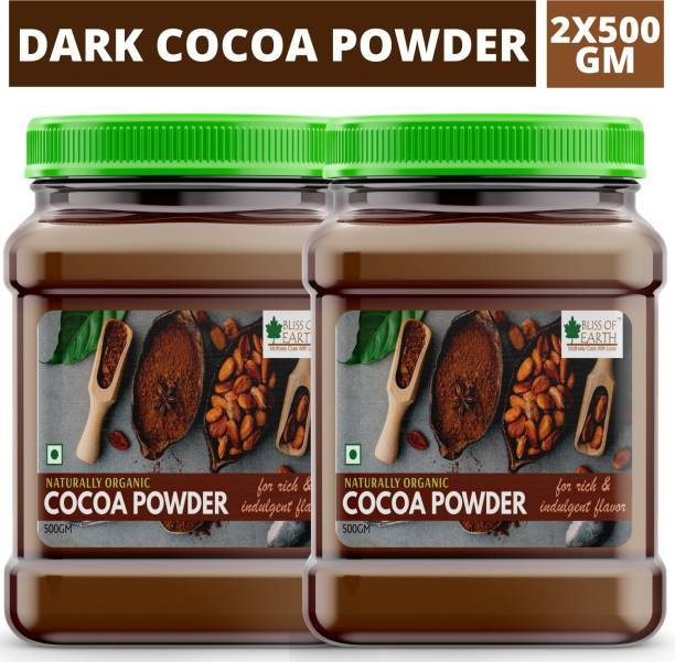 Bliss of Earth 2X500gm Dark Unsweetened Cocoa Powder 1kg For Chocolate Cake Baking, Shake & Smoothies Cocoa Powder