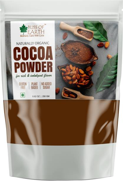 Bliss of Earth 250gm Dark Unsweetened Cocoa Powder For Chocolate Cake Baking, Shake & Smoothies Cocoa Powder