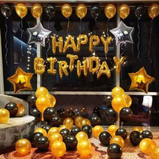 HERDEM Printed HAPPY BIRTHDAY GOLDEN LETTER 13 PIECE.50 BLACK AND GOLDEN BALLOONS 2 STAR 18 INCHES TOTAL PACK OF 65. Letter Balloon
