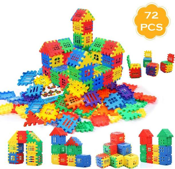 jvm Multi Colored 72 Pcs Mega Jumbo Happy Home House Building Blocks with Attractive Windows and Smooth Rounded Edges - Building Blocks for Kids