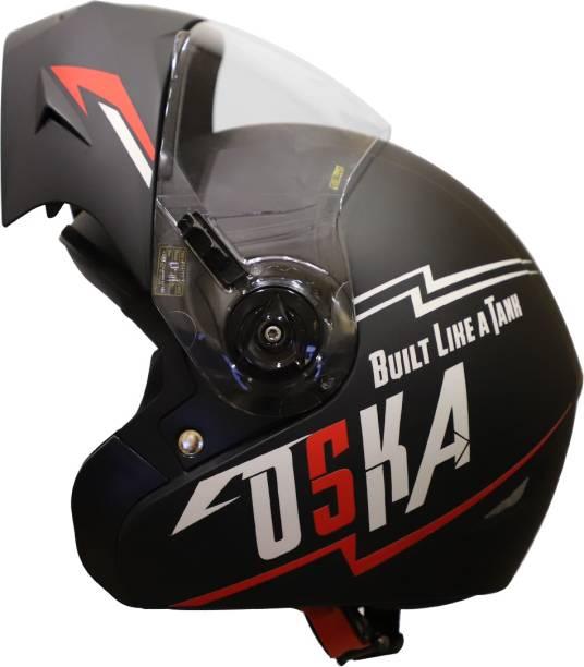 Steelbird SB-45 OSKA Flip-Up Helmet with Reflective Graphics and Clear Visor Motorbike Helmet