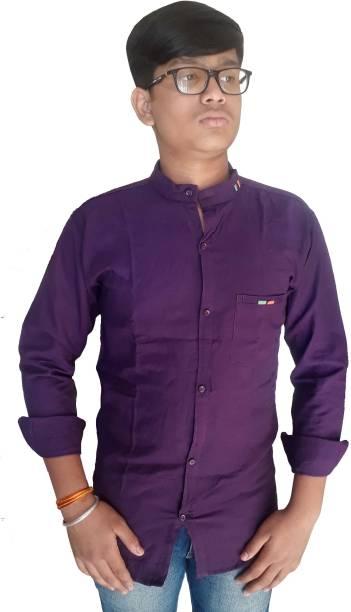 Jio Men Solid Casual Purple Shirt