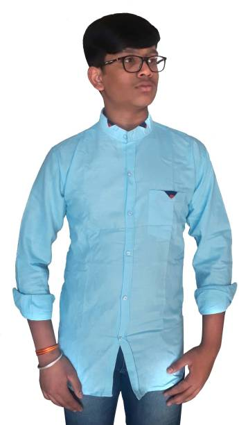 Jio Men Solid Casual Light Blue Shirt