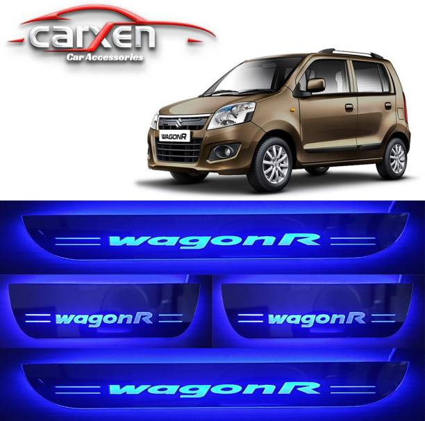 carxen Car Door Foot Step Led Sill Plate With Mirror Finish for compatible with MARUTI SUZUKI WAGON R (Set of 4PCS, Blue) Door Sill Plate