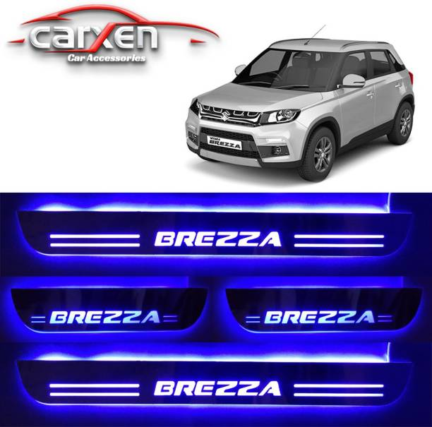 carxen Car Door Foot Step Led Sill Plate With Mirror Finish for compatible with Suzuki Brezza (Set of 4PCS, Blue) Door Sill Plate Door Sill Plate