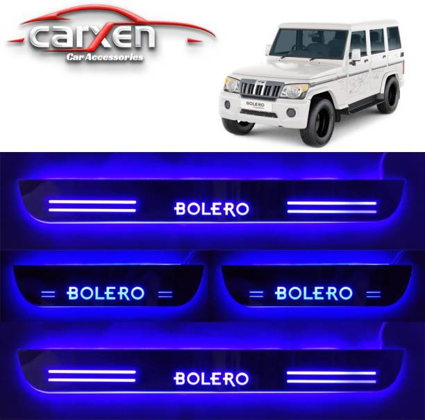 carxen Car Door Foot Step Led Sill Plate With Mirror Finish for compatible with Mahindra Bolero (Set of 4PCS, Blue) Door Sill Plate Door Sill Plate