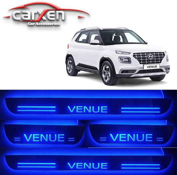 carxen Car Door Foot Step Led Sill Plate With Mirror Finish for compatible with Hyundai Venue (Set of 4PCS, Blue) Door Sill Plate Door Sill Plate