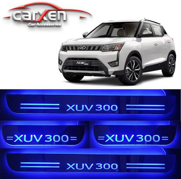 carxen Car Door Foot Step Led Sill Plate With Mirror Finish for compatible with Mahindra XUV300 (Set of 4PCS, Blue) Door Sill Plate Door Sill Plate