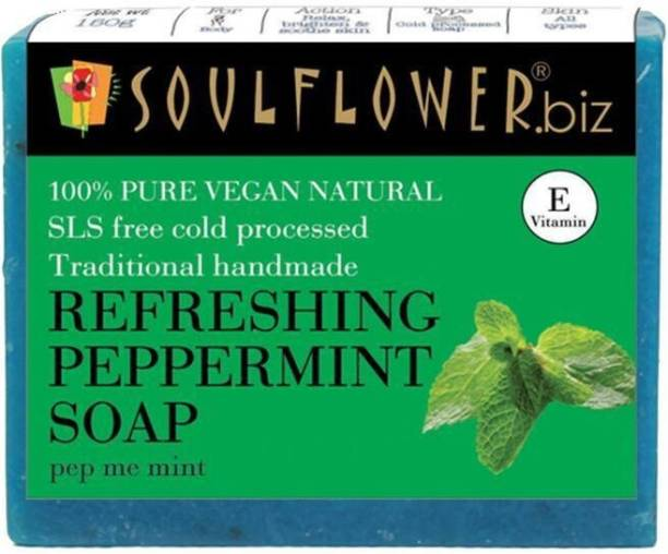 Soulflower Refreshing Peppermint soap 150g, 100% Premium & Pure, Natural & Undiluted, For Bright And Refreshed Skin, Soothing Irritated Skin, Fades Skin Redness, Luxury, Premium Handmade Soap
