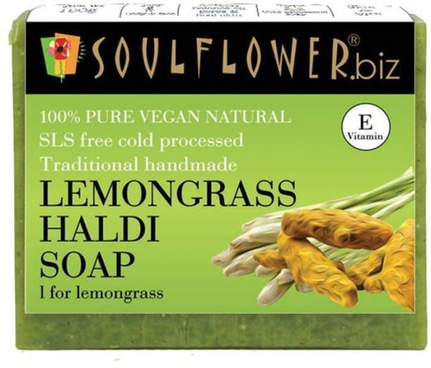 Soulflower Lemongrass Haldi soap 150g, For Lightens Scars And Blemishes, Skin Brightening�, Reduces Aging Signs And Wrinkles, Luxury, Premium Handmade Soap
