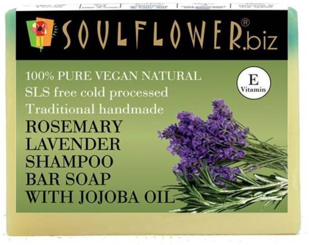 Soulflower Rosemary Lavender Shampoo Bar soap with Jojoba oil 150g, For Oil-Free Thick And Shiny Hair!, Soothes Scalp & Balances Scalp Oil Secretion, Luxury, Premium Handmade Soap