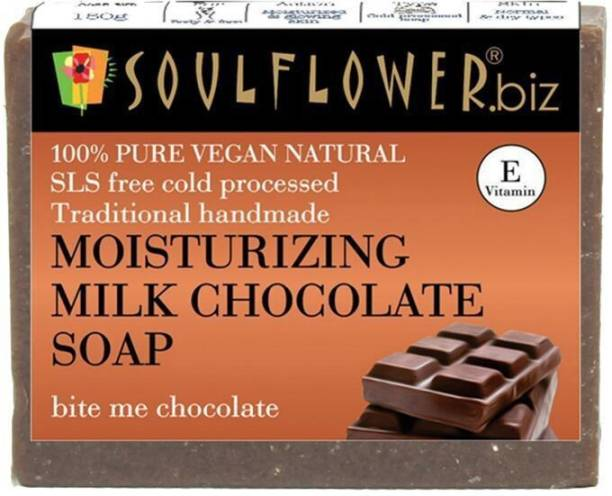 Soulflower Moisturizing Milk Chocolate soap 150g, For Moisturizing Skin, Reduces Puffiness, Lighten Scars & Blemishes, Luxury, Premium Handmade Soap