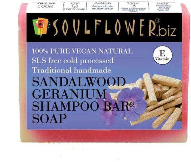 Soulflower Sandalwood Geranium Shampoo Bar Soap 150g, 100% Premium & Pure, Natural & Undiluted, For HAIR MOISTURIZER, HAIR THICKNESS, HAIR GROWTH, Luxury, Premium Handmade Soap