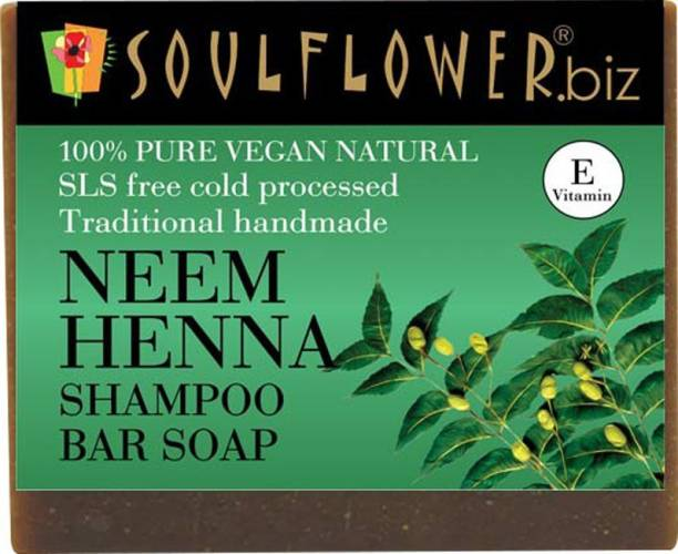 Soulflower Neem Henna Shampoo Bar Soap 150g, For dandruff free Hair, oothing scalp itchiness, Hair Fall Control, Luxury, Premium Handmade Soap
