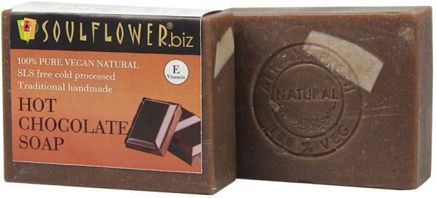 Soulflower Hot Chocolate Soap 150g, 100% Premium & Pure, Natural & Undiluted, For Smooth And Shiny Skin, Anti Ageing, Skin Repair, Luxury, Premium Handmade Soap