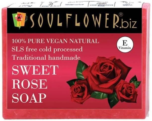 Soulflower Sweet Rose Soap 150g, For Moisturizing Skin, Soft Skin, Luxury, Premium Handmade Soap