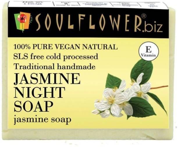 Soulflower Jasmine Night Soap 150g, For Acne Control, Skin Nourishment, Skin Care, Luxury, Premium Handmade Soap
