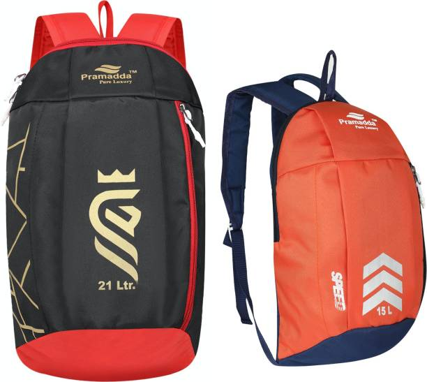 Pramadda Pure Luxury Sports Gym Football Multiuse Casual Backpacks. ( Combo Pack offer 15L + 21L)