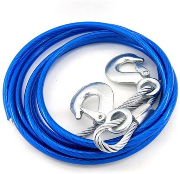 carfrill 5 Tonne Heavy Duty Towing Belt Security Cable 4 Meters Breakdown Recovery Tow Rope with 2 Hooks for Cars 4 m Towing Cable