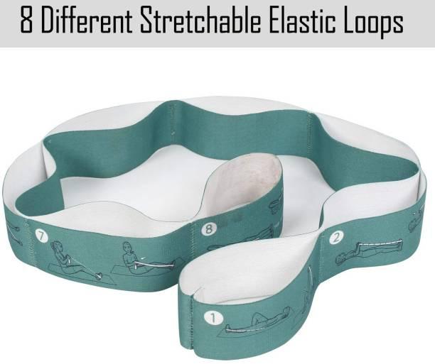 Fitness Guru Elastic 8 loops Stretching Strap for Yoga/Pilates/Exercise Nylon Yoga Strap