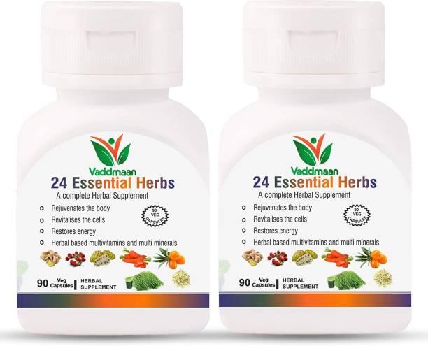 vaddmaan 24 Essential Herbs - 90 Capsules, Pack Of 2 | Natural Superfood | Herbal | Ayurvedic