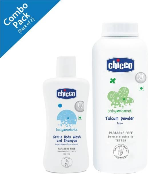 Chicco Baby Moments Gentle Body wash and Shampoo (100ml) Talcum powder (300g)