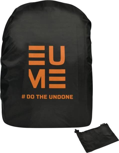 EUME Polyester 35 LTR Black Orange Rain and Dust Cover with Pouch for Casual & Laptop Bag Cover